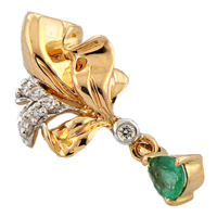 Pendant with diamonds and emeralds